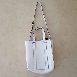 Zara white faux leather Midi Shopper Tote NWT